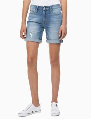 Calvin Klein light blue distressed city shorts