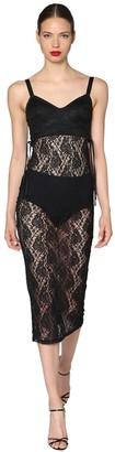Dolce & Gabbana Satin And Lace Midi Dress