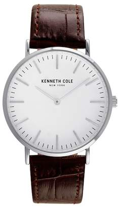 Kenneth Cole New York Men's Quartz Leather Strap Watch, 20mm