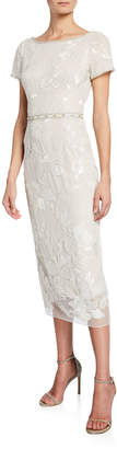 Marchesa Short-Sleeve Metallic Floral Embroidered Sheath Dress w/ Beaded Trim