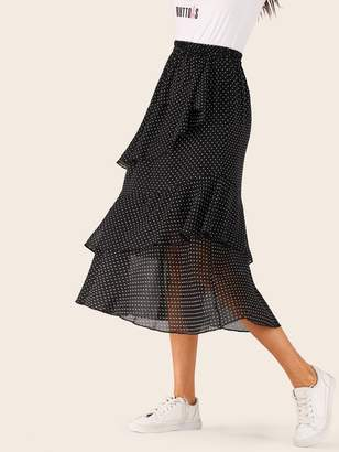 Shein Polka Dot Tiered Layered Ruffle Hem Skirt