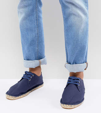 Asos Design Wide Fit Lace Up Espadrilles In Navy Canvas