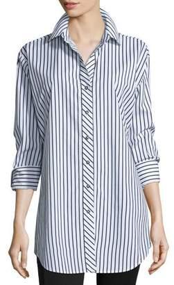 Go Silk Striped Cotton Big Shirt, Petite $185 thestylecure.com