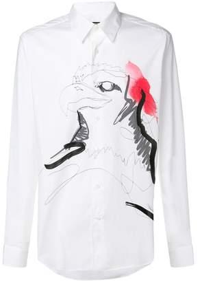 Roberto Cavalli painted eagle shirt