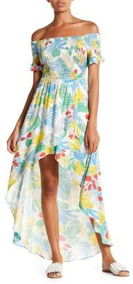 Lush Off-the-Shoulder Printed Maxi Dress