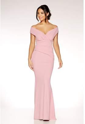 Quiz Mauve Crepe Bardot Wrap Front Fishtail Maxi Dress