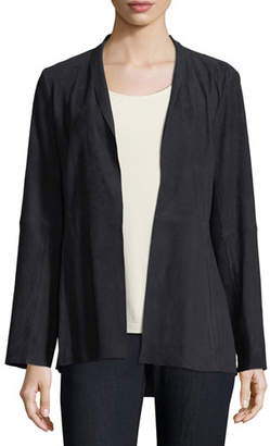 Eileen Fisher Plus Size Soft Suede High-Collar Jacket