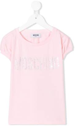 Moschino Kids crystal studded logo T-shirt