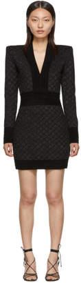 Balmain Black V-Neck Iridescent Long Sleeve Dress