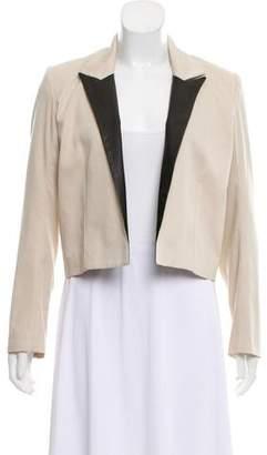 Mason Leather-Trimmed Peak-Lapel Jacket