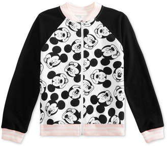 Disney Big Girls Mickey Face Full-Zip Bomber Jacket