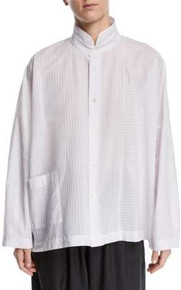 eskandar Paneled Button-Front Shirt