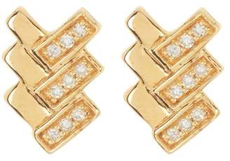 Carriere 18K Gold Plated Sterling Silver Triple Bow Tail Diamond Earrings - 0.08 ctw