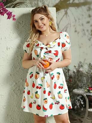 Shein Plus Tie Front Random Fruit Print Dress