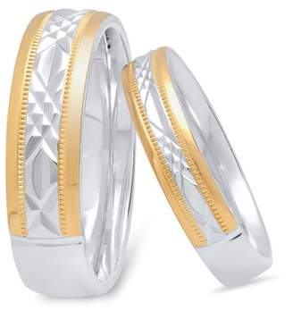 Unbranded His and Hers Sterling Silver Diamond Cut 14K Gold Plated Matching Wedding Band Set