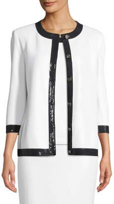 St. John 3/4-Sleeve Shimmer Santana-Knit Cardigan