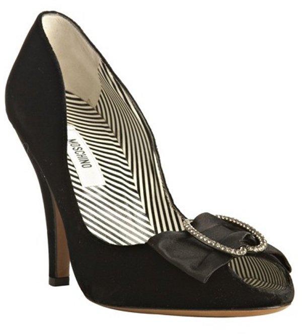 Moschino black velvet jeweled bow peep toe pumps