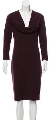Salvatore Ferragamo Cowl Neck Wool Midi Dress