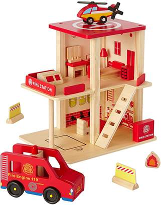 Vertbaudet Wooden Fire Station & Accessories