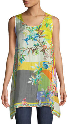 Johnny Was Valley Printed Scoop-Neck Long Silk Easy Tank