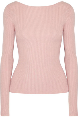 Elizabeth and James - Fay Tie-back Ribbed-knit Sweater - Pastel pink $295 thestylecure.com