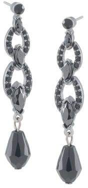Carolee Jet Black Crystal Triple-Drop Earrings