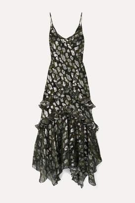 Michael Kors Ruffled Metallic Fil Coupé Silk-blend Chiffon Midi Dress - Black