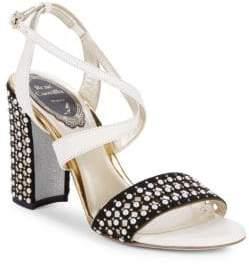 Rene Caovilla Pearl Studded Suede Block Heel Sandals