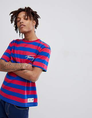 Tommy Jeans Signature Capsule Stripe Logo T-Shirt Relaxed Fit in Pink/Blue