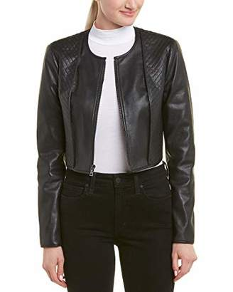 BCBGMAXAZRIA Women's Faux-Leather Quilted Crop Jacket