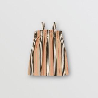 Burberry Childrens Smocked Icon Stripe Cotton Dress