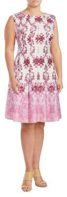 Gabby Skye Plus Scroll-Print A-Line Dress