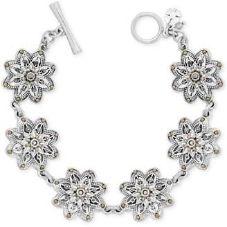 Lucky Brand Two-Tone Flower Link Bracelet