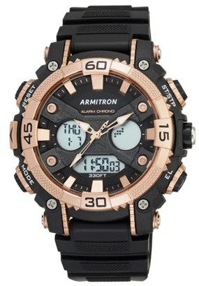 Armitron Men's Sport Round Watch, Black and Rose Gold