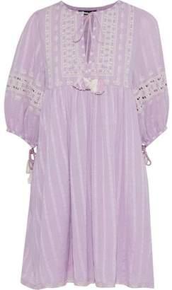 Love Sam Midsummer Peasant Embroidered Cotton-Gauze Mini Dress