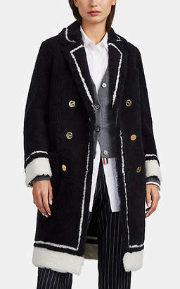Thom Browne Women's Stripe-Trimmed Shearling Double-Breasted Coat - Navy