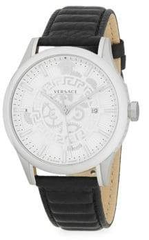 Versace Stainless Steel Analog Leather Watch