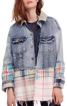 Free People Sirius Plaid & Denim Jacket