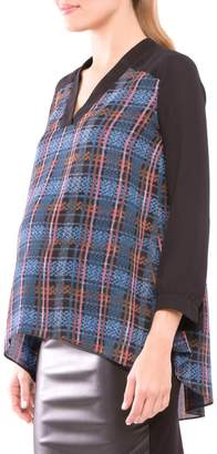 Olian Plaid Maternity Top