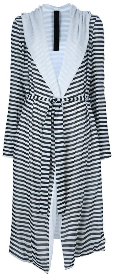 Gareth Pugh striped hooded summer coat