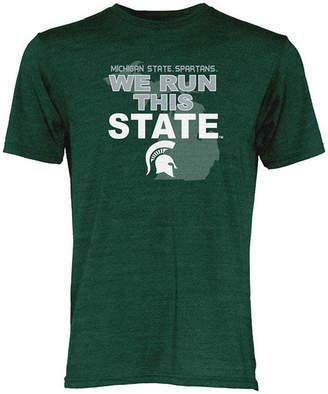 NCAA Blue 84 Michigan State Spartans Men's We Run This State Tri-Blend T-Shirt