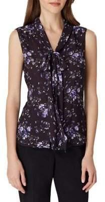 Tahari Arthur S. Levine Floral Neck-Tie Sleeveless Blouse