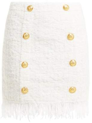 Balmain Fringed Tweed Mini Skirt - Womens - Ivory