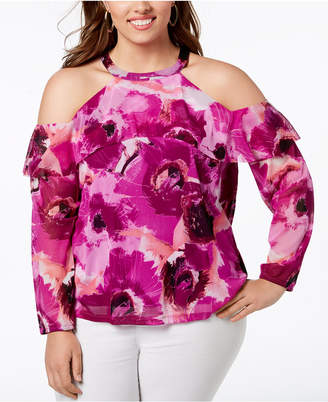 INC International Concepts I.N.C. Plus Size Cotton Cold-Shoulder Halter Top, Created for Macy's