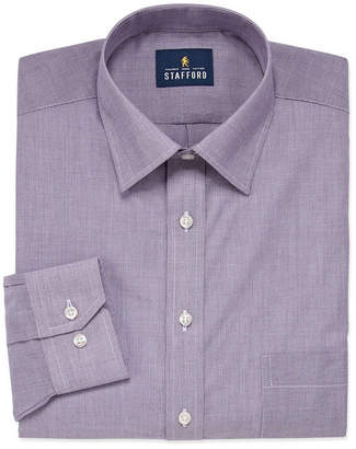 STAFFORD Stafford Travel Easy Care Stretch Broadcloth Mens Point Collar Long Sleeve Stretch Dress Shirt