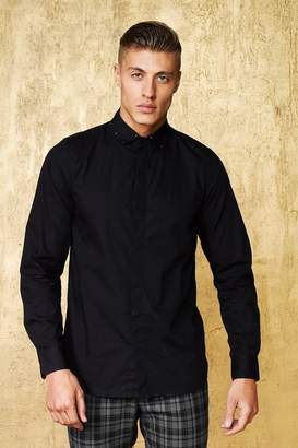 boohoo Long Sleeve Shirt With Studded Collar