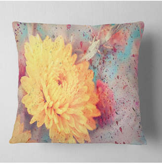 """Aster Designart Flower With Watercolor Splashes Flower Throw Pillow - 18"""" X 18"""""""