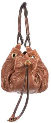 LAI Handbags Python Drawstring Bucket Bag