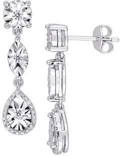 Sonatina Diamond and Sterling Silver Three-Tier Dangle Earrings