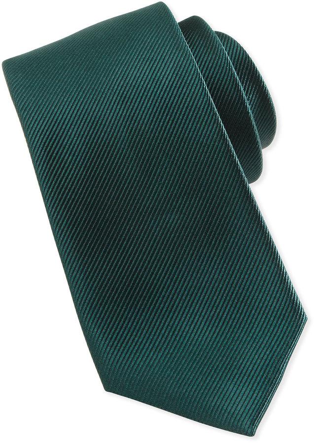 Neiman Marcus Solid Bias Ribbed Silk Tie, Green